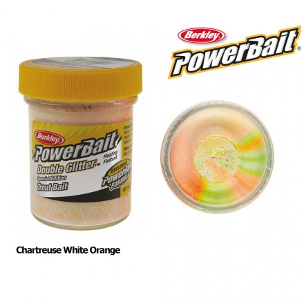 Berkley Powerbait Double Glitter Twist Chartreuse White Orange