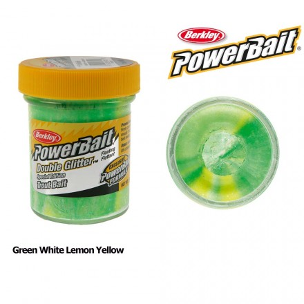 Berkley Powerbait Double Glitter Twist Green White Lemon Yellow
