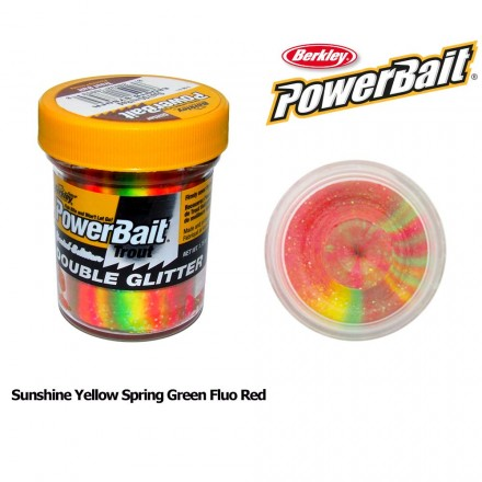 Berkley Powerbait Double Glitter Twist Sunshine Yellow Spring Green Fluo Red